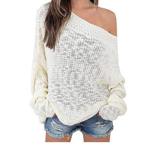 Sweaters - Exlura off the shoulder white sweater